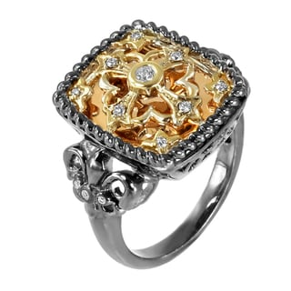 14kt Gold 1/8ct TDW Fleur De Lis Cross Diamond Ring (H-I, I1-I2)