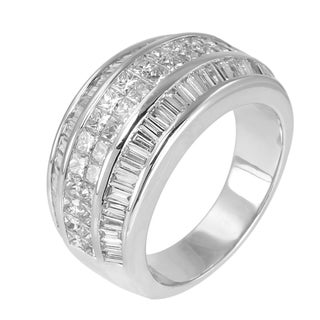 14k White Gold 2 1/2ct TDW Princess and Baguette Mixed Cut Diamond Ring (G-H, SI1-SI2)