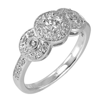 14k White Gold 1/2ct TDW Vintage Setting Halo Ring (G-H, SI3-I1)