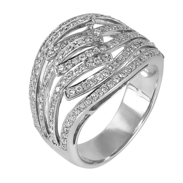 Contessa 14kt White Gold 7/8ct TDW Open Wave Design Diamond Ring (H-I, I1-I2)