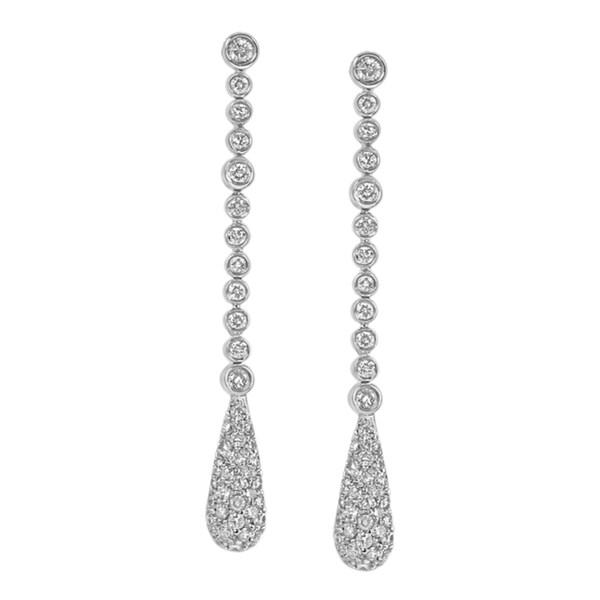 Contessa 14kt White Gold 1 7/17ct TDW Dangling Diamond Earrings (H-I, I1-I2)