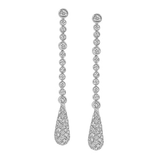 14kt White Gold 1 7/17ct TDW Dangling Diamond Earrings (H-I, I1-I2)