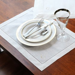 Cream Linen Monogrammed Hemstitch Placemats (Set of 6)