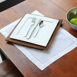 White Linen Hemstitch Placemats (Set of 6)