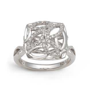 Sterling Silver 1/6ct TDW Diamond Interwoven Square Ring (H-I, I2)