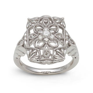 Sterling Silver 1/6ct TDW Diamond Vintage Rectangular Ring (H-I, I2-I3)