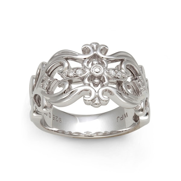 Sterling Silver 1/10ct TDW Round-cut Diamond Filigree Ring (H-I, I2-I3)