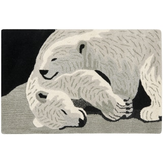 Handmade Safavieh Wildlife Polar Bears Wool Rug - 2' x 3'