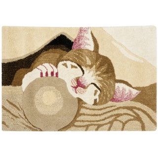 Handmade Safavieh Wildlife Napping Kitten Wool Rug (2' x 3')