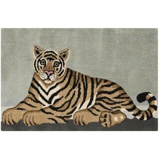 Handmade Safavieh Wildlife Tiger Wool Rug (2' x 3')