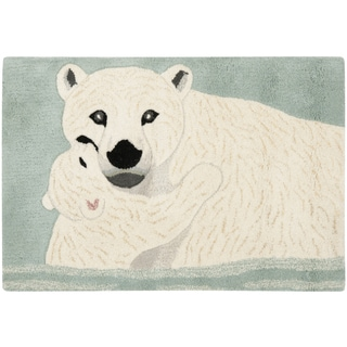 Handmade Wildlife Polar Bear and Cub Wool Rug (2' x 3')