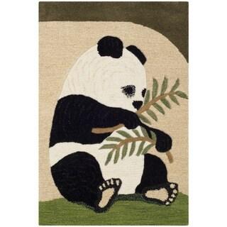 Handmade Safavieh Wildlife Panda Wool Rug (2' x 3')
