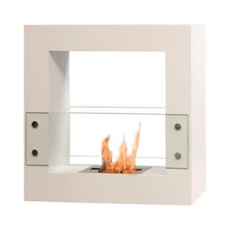 Bio-Blaze Small White Qube Bio Ethanol Free Standing Fireplace