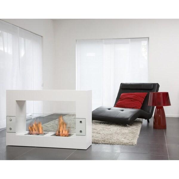 Bio-Blaze Large White Qube Bio Ethanol Free Standing Fireplace