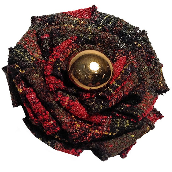 Tartan Plaid Magnetic Flower Brooch