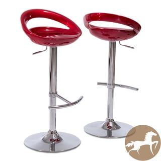 Christopher Knight Home Minoan Red Adjustable Barstools (Set of 2)