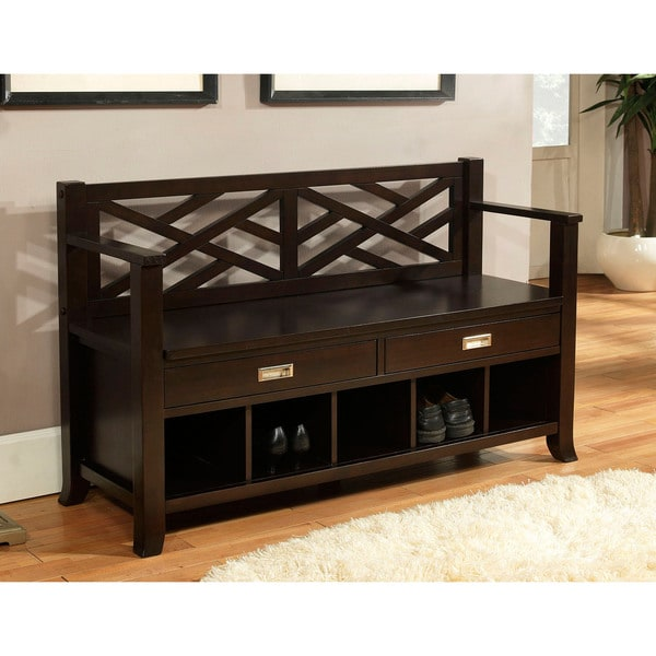WYNDENHALL Lancaster Espresso Brown Entryway Storage Bench with Drawers & Cubbies