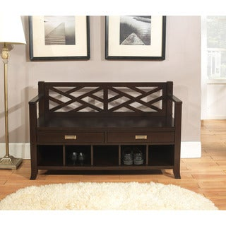 Lancaster Espresso Brown Entryway Storage Bench with Drawers & Cubbies