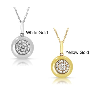 14k Gold 1/5ct TDW Diamond Halo Circle Pendant (GH, I1-I2)