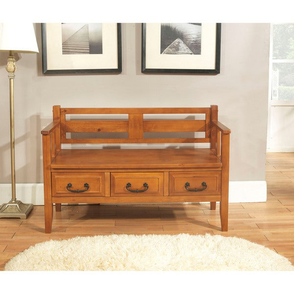 WYNDENHALL Country Road Light Avalon Brown Entryway Storage Bench with Drawers