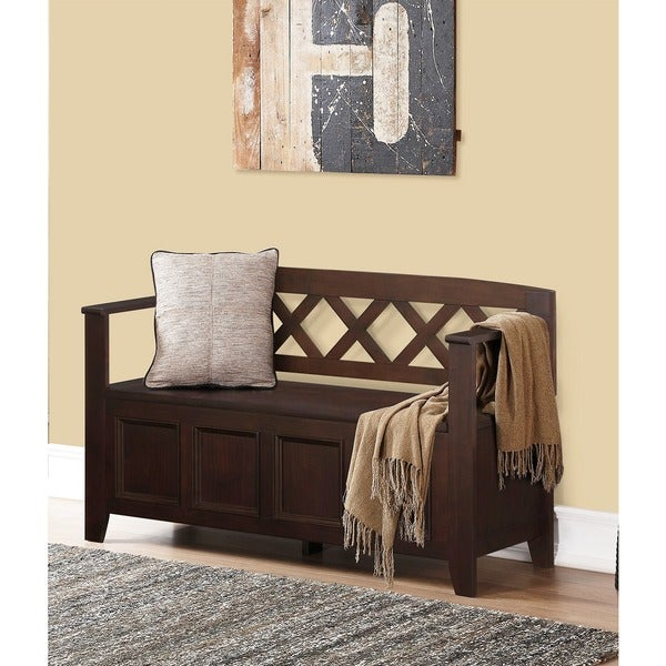 WYNDENHALL Halifax Dark American Brown Entryway Storage Bench