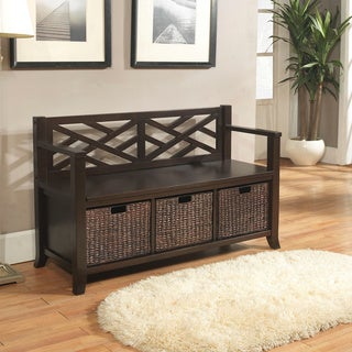 Nolan Espresso Brown Entryway Storage Bench with Basket Storage