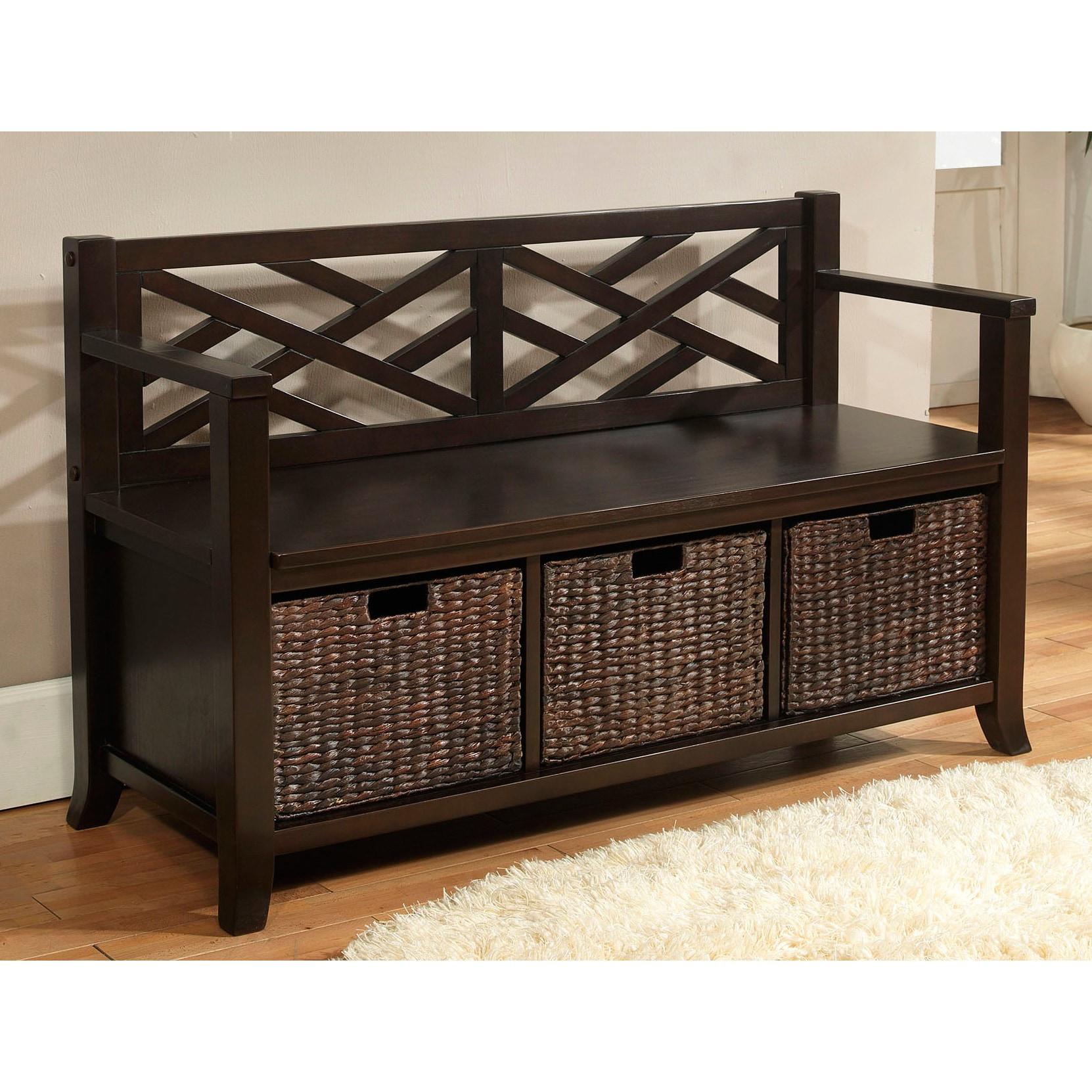 Espresso Foyer Bench : Nolan espresso brown entryway storage bench with basket