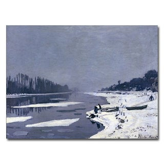 Claude Monet 'Ice on Seine at Bougival, 1867-68' Canvas Art
