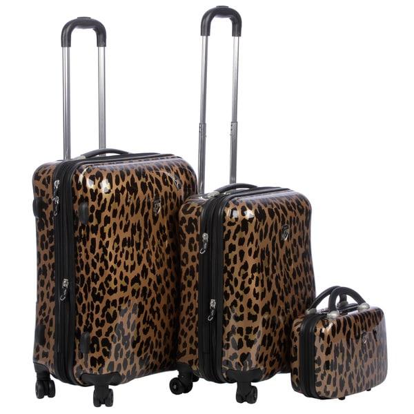 Heys USA Metallic Leopard 3-piece Hardside Spinner Luggage Set