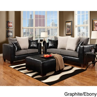 Furniture of America Riza 2 Piece Contemporary Sofa Loveseat Set