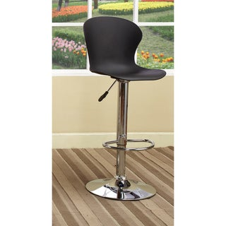 K&B Black Vinyl Chrome Finish Adjustable Bar Stool