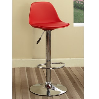K&B Red Vinyl Chrome Finish 42-inch Adjustable Bar Stool