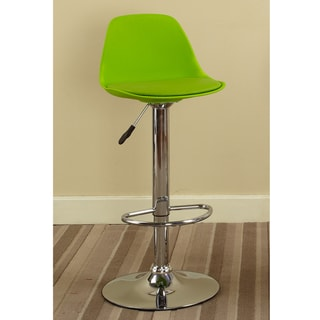 K&B Green Vinyl Chrome Finish 42-inch Adjustable Bar Stool