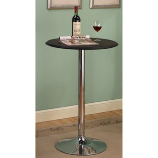 K&B Black Vinyl Top Chrome Finish Bar Table