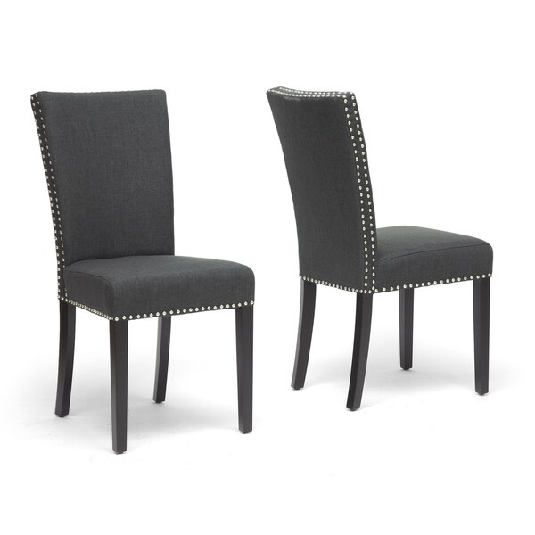 Harrowgate Dark Gray Linen Modern Dining Chair (Set of 2)