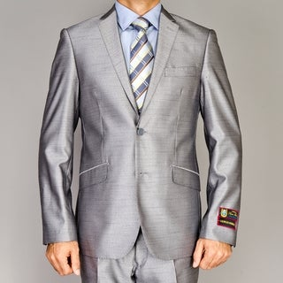 Giorgio Fiorelli Men's Shiny Grey Slim-Fit Suit