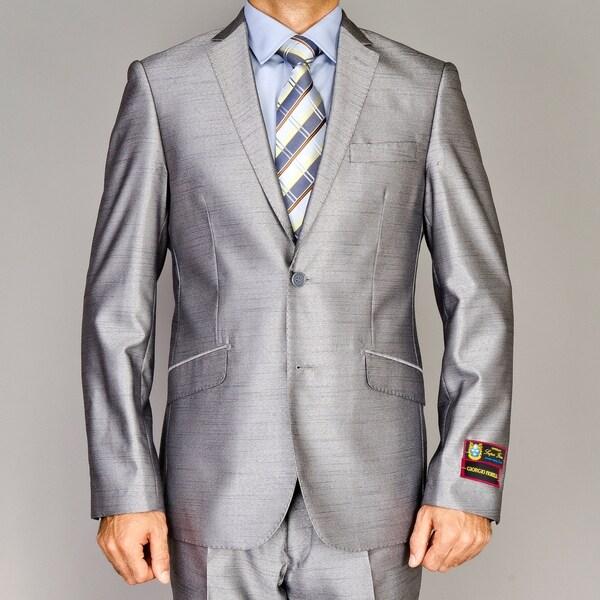 Giorgio Fiorelli Men's Shiny Grey Slim-Fit Suit