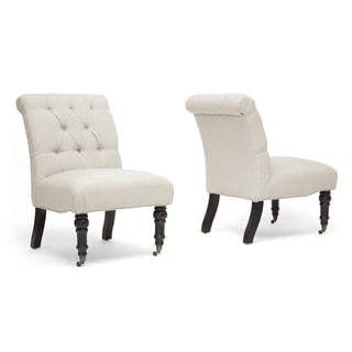 Baxton Studio Beige Linen Slipper Chair (Set of 2)