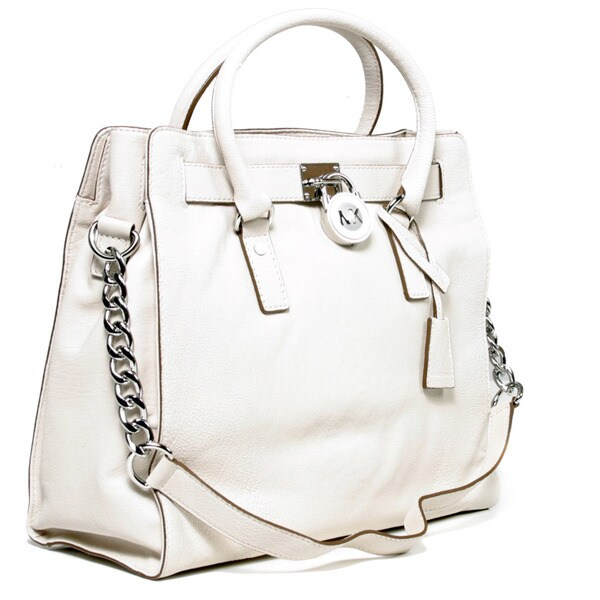 MICHAEL Michael Kors Hamilton Large Vanilla Leather Tote