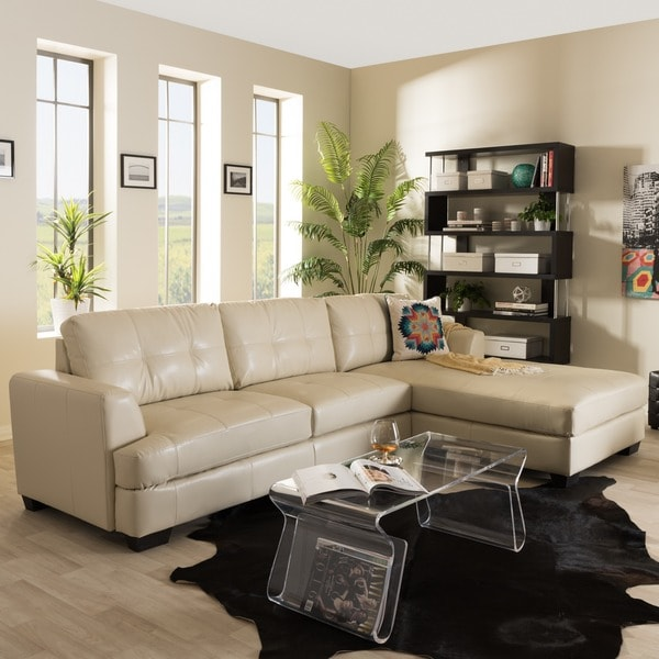 Baxton Studio Dobson Modern Cream Bonded Leather Tufted