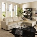 Baxton Studio Dobson Modern Cream Bonded Leather Sectional Sofa