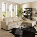 Baxton Studio Cream Leather Sectional Sofa