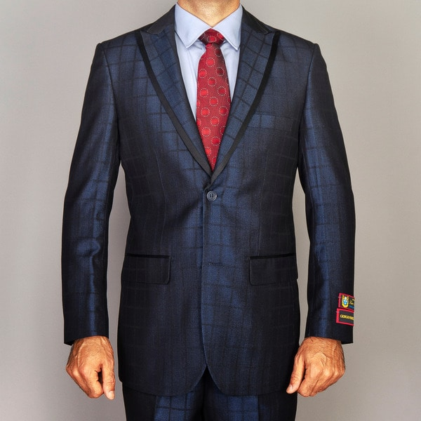 Men's Windowpane Navy Blue Modern Lapel Suit