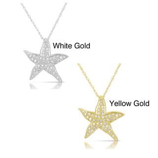 Eloquence 10k Gold Diamond Aquatic Life Starfish Pendant (GH, I2-I3)