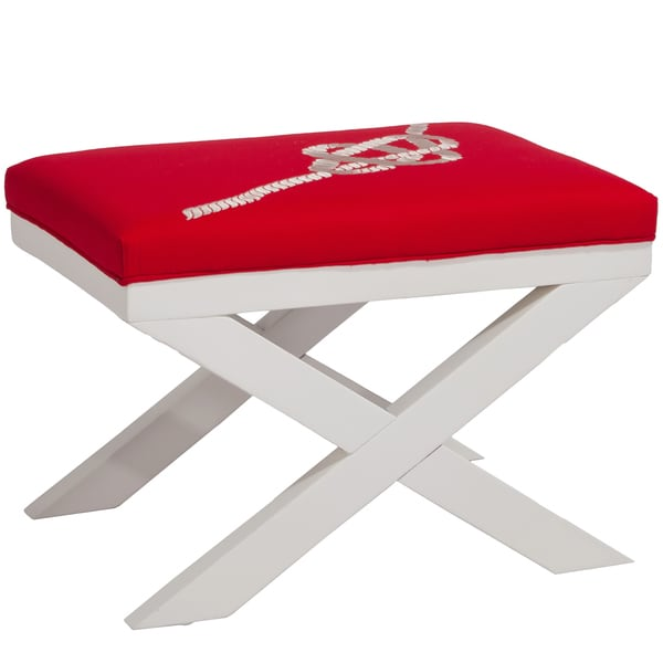 Christopher Knight Home Xavier Rope Embroidered Red Ottoman