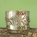 Handcrafted Hammered Brass/ Copper Cross Cuff Bracelet (India)