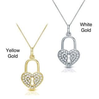 Auriya 14k Gold 2/5ct TDW Diamond Heart Lock Pendant Necklace (H-I, I1-I2)