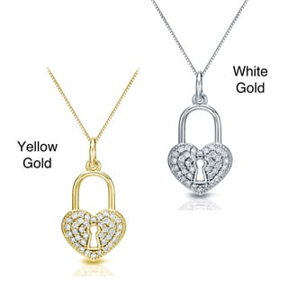 Auriya 14k Gold 2/5ct TDW Diamond Heart Lock Pendant Necklace (H-I, I1-I2)