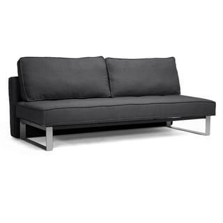 Baxton Studio Dark Grey Linen Sofa Bed