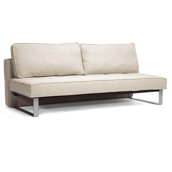 Baxton Studio Beige Linen Sofa Bed 14794396 Overstock